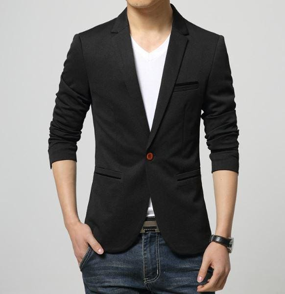 Mens Korea Slim Fit Fashion Blazers Suit Jacket Male CasualPlus size M-6XL Coat Wedding dress Black 1625Black / L