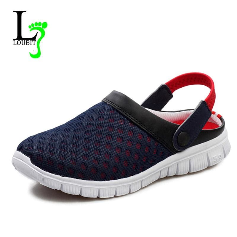Men's Summer Shoes Sandals 2017 New Breathable Men Slippers Mesh Lighted Casual Shoes Outdoor Slip