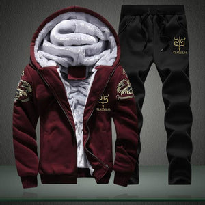 Mens Track Suits Men Casual Male Winter Tracksuit Men Brand Man Leisure Outwear Tracksuit Sets Red / M