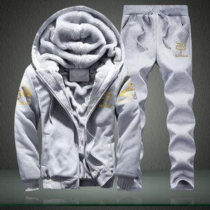 Mens Track Suits Men Casual Male Winter Tracksuit Men Brand Man Leisure Outwear Tracksuit Sets Grey / M