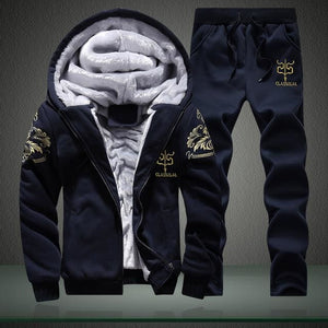 Mens Track Suits Men Casual Male Winter Tracksuit Men Brand Man Leisure Outwear Tracksuit Sets Dark Blue / M