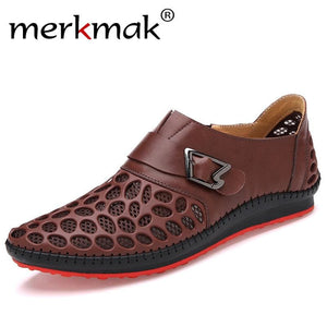 Merkmak Men Shoes Casual Genuine Leather Shoes Mens Luxury Brand Summer Leisure Breathing Flats For