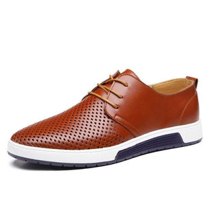 Men Casual Shoes Leather Summer Breathable Holes Luxury Brand Flat Shoes.