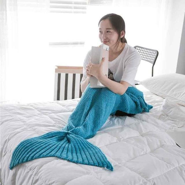 Mermaid Tail Blanket Yarn Knitted Handmade Crochet Mermaid Blanket Kids Throw Bed Wrap Super Soft - MBMCITY