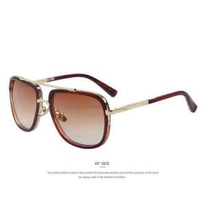 MERRYS Fashion Men Sunglasses Classic Women Brand Designer Metal Square Sun glasses UV400 C02 Brown