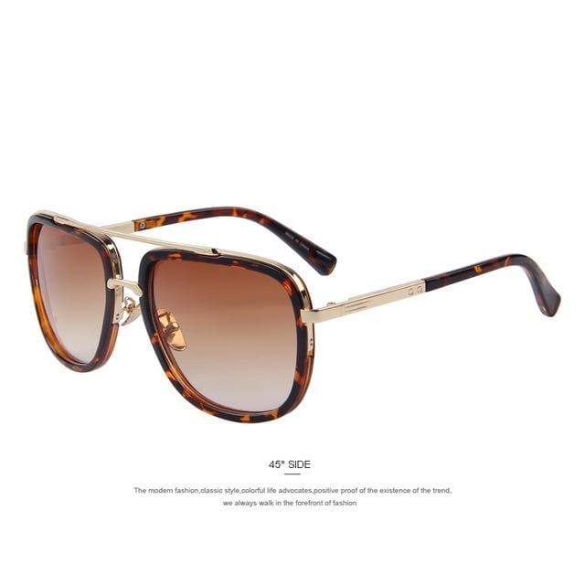 Merrys Fashion Men Sunglasses Classic Women Brand Designer Metal Square Sun Glasses Uv400 C04 Leopard