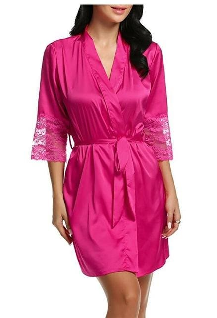 Mid-Sleeve Sexy Women Nightwear Robes Plus Size M L Xl Xxl Lace Real Silk Female Bathrobes Free As The Photo Show 1 / S