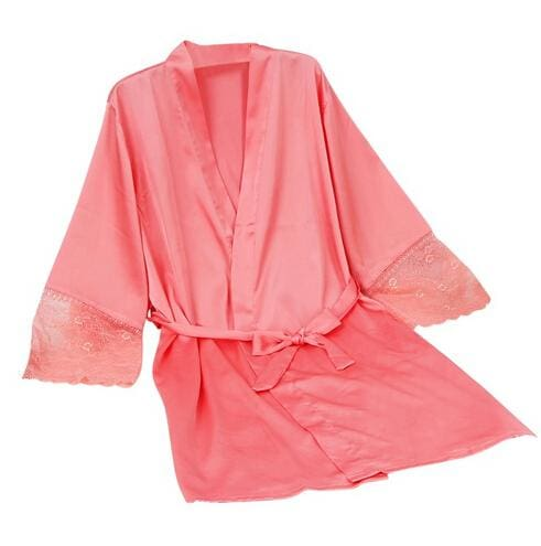 Mid-sleeve sexy women nightwear robes plus size M L XL XXL lace real silk female bathrobes free As the photo show 8 / S