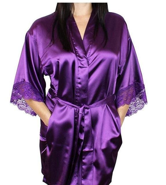 Mid-Sleeve Sexy Women Nightwear Robes Plus Size M L Xl Xxl Lace Real Silk Female Bathrobes Free As The Photo Show 10 / S
