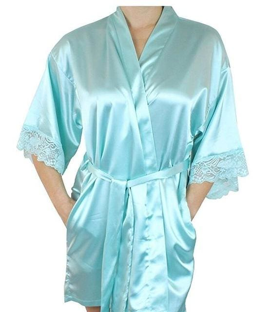 Mid-sleeve sexy women nightwear robes plus size M L XL XXL lace real silk female bathrobes free As the photo show 6 / S