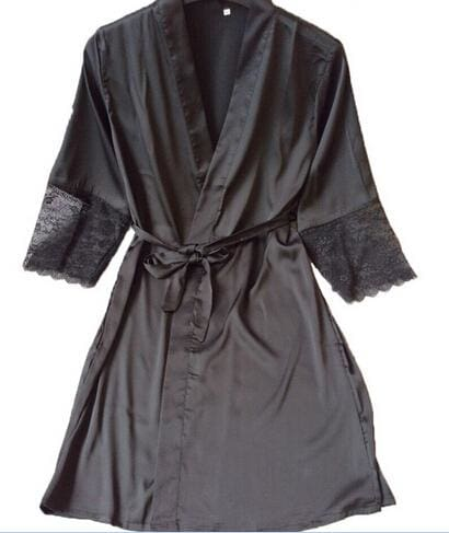 Mid-Sleeve Sexy Women Nightwear Robes Plus Size M L Xl Xxl Lace Real Silk Female Bathrobes Free As The Photo Show 3 / S