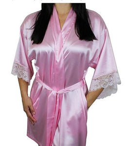 Mid-sleeve sexy women nightwear robes plus size M L XL XXL lace real silk female bathrobes free As the photo show 5 / S