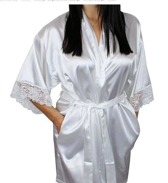 Mid-Sleeve Sexy Women Nightwear Robes Plus Size M L Xl Xxl Lace Real Silk Female Bathrobes Free As The Photo Show / S