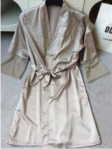 Mid-Sleeve Sexy Women Nightwear Robes Plus Size M L Xl Xxl Lace Real Silk Female Bathrobes Free As The Photo Show 9 / S