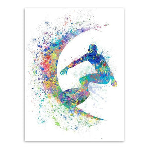 Modern Abstract Watercolor Surfing A4 Art Print Poster Black White Beach Sports Wall Picture Canvas 13X18 Cm No Frame / Surfing