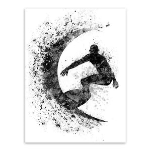 Modern Abstract Watercolor Surfing A4 Art Print Poster Black White Beach Sports Wall Picture Canvas 13X18 Cm No Frame / Surfing Bw