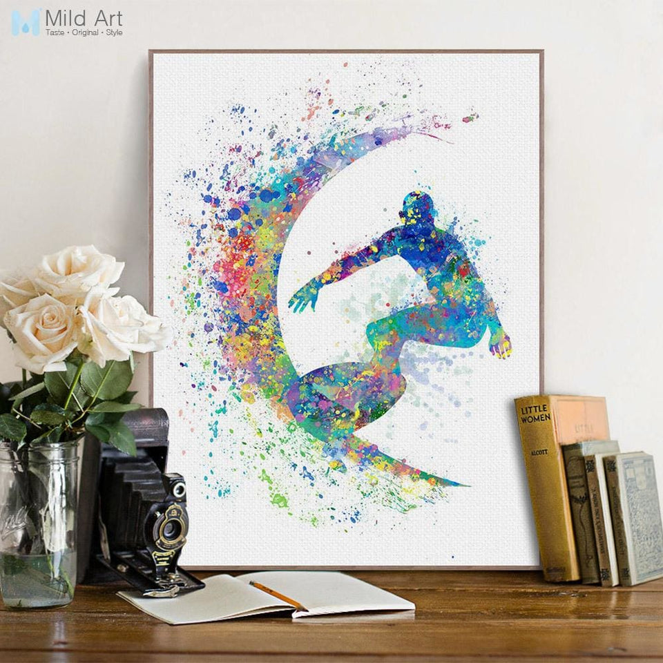 Modern Abstract Watercolor Surfing A4 Art Print Poster Black White Beach Sports Wall Picture Canvas