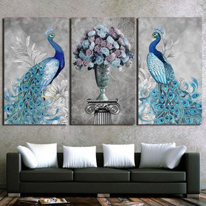 Modern Canvas Painting Frame HD Printed Wall Art Picture 3 Pieces Animal Elegant Peacock Blue Rose - MBMCITY