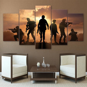 Modern Canvas Pictures HD Printed Wall Art Frame 5 Pieces Army Soldier Sunset Landscape Living Room.