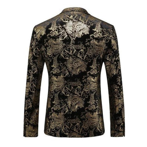 MOGU Gold Printed Blazer Men Floral Casual Male Blazer 2017 Spring New Arrival Fashion Men's Blazer - MBMCITY