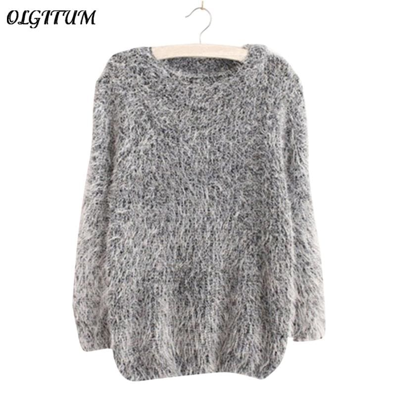 Mohair Pullover 2017 Autumn Winter Womens O-Neck Sweater Women Hedging Loose Pullover Casual