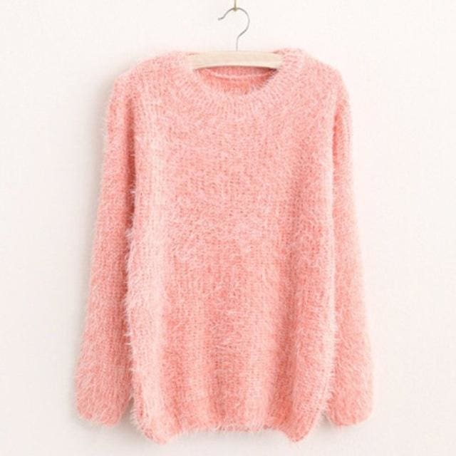 Mohair Pullover 2017 Autumn Winter Womens O-Neck Sweater Women Hedging Loose Pullover Casual Pink / One Size