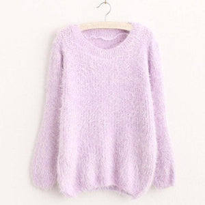 Mohair Pullover 2017 Autumn Winter Womens O-Neck Sweater Women Hedging Loose Pullover Casual Purple / One Size