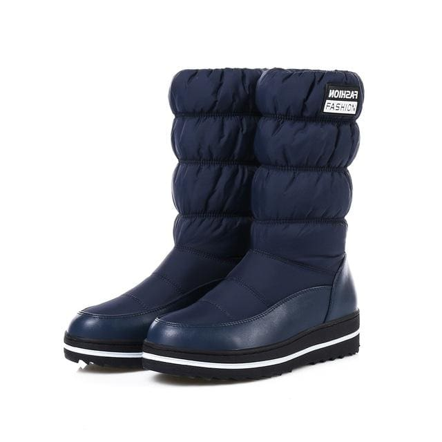 Morazora Plus Size 35-44 New Snow Boots Women Warm Cotton Down Shoes Waterproof Boots Fur Platform Blue / 4