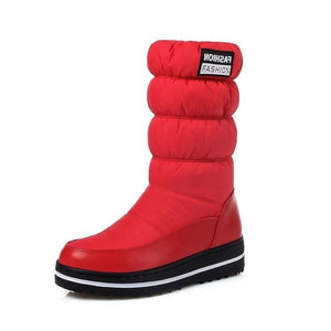 Morazora Plus Size 35-44 New Snow Boots Women Warm Cotton Down Shoes Waterproof Boots Fur Platform Red / 4
