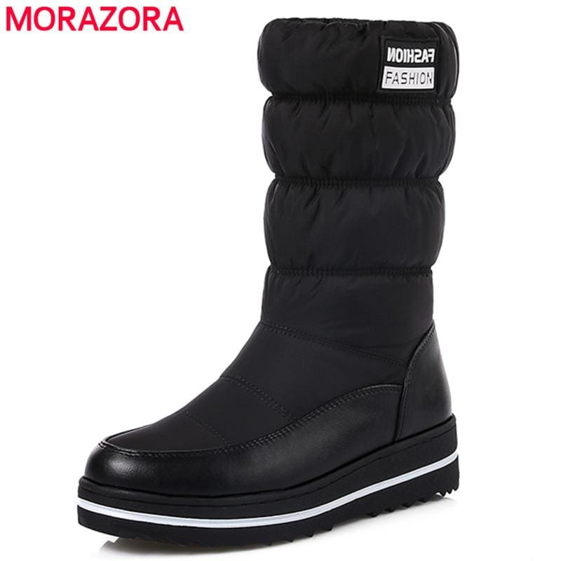 Morazora Plus Size 35-44 New Snow Boots Women Warm Cotton Down Shoes Waterproof Boots Fur Platform