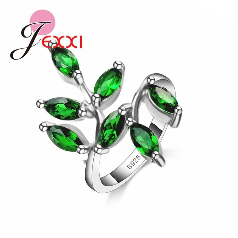 Mosaic Small Cute Fresh Leaves Rings 925 Sterling Silver Rings With Green Natural Gen Stone Jewelry