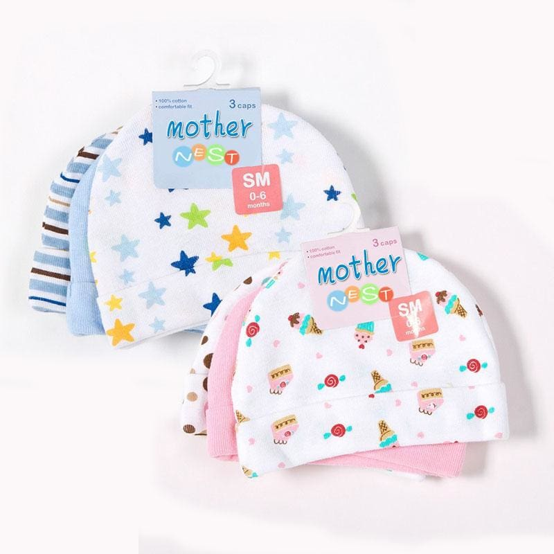 Mother Nest 3pcs/lot Baby Hats Pink/Blue Star Printed Baby Hats & Caps for Newborn Baby Accessories - MBMCITY