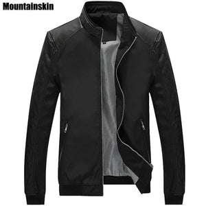 Mountainskin 5Xl Spring New Mens Pu Patchwork Jackets Casual Mens Thin Jackets Solid Slim Male