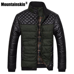 Mountainskin Brand Men's Jackets and Coats 4XL PU Patchwork Designer Jackets Men Outerwear Winter - MBMCITY
