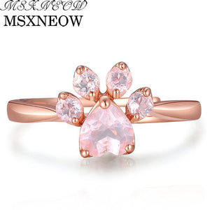 MSXNEOW Adjustable wedding Ring Animal Clam Pink Natural Gemstone Rose Quartz 925 Sterling Silver