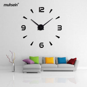 Muhsein 2017 New Wall Clock Acrylic Metal Mirror Big Personalized Decoration Wall Watches 3D Large