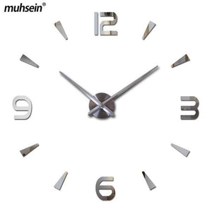 Muhsein 2017 New Wall Clock Acrylic Metal Mirror Big Personalized Decoration Wall Watches 3D Large Pink / 47Inch