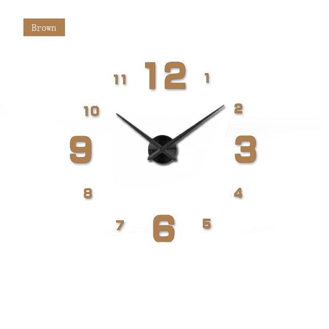 Muhsein Fashion 3D Big Size Wall Clock Mirror Sticker Diy Brief Living Room Decor Meetting Room Wall Chocolate / 47 Inch