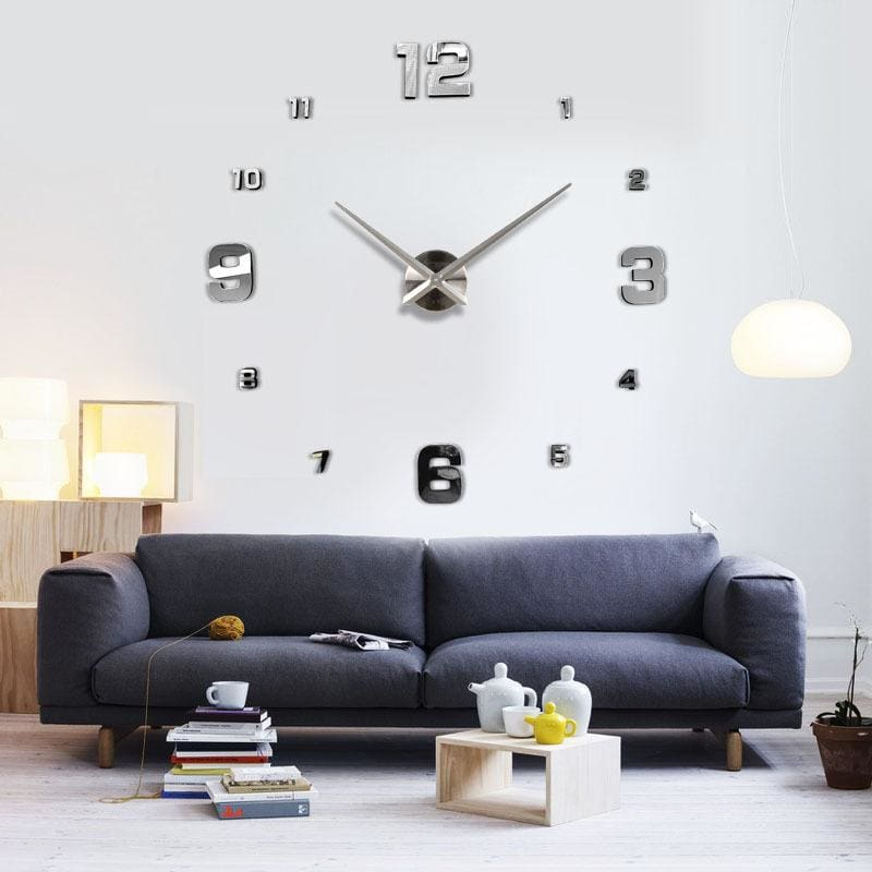 Muhsein Fashion 3D Big Size Wall Clock Mirror Sticker Diy Brief Living Room Decor Meetting Room Wall