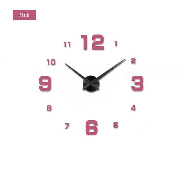 Muhsein Fashion 3D Big Size Wall Clock Mirror Sticker Diy Brief Living Room Decor Meetting Room Wall Pink / 47 Inch