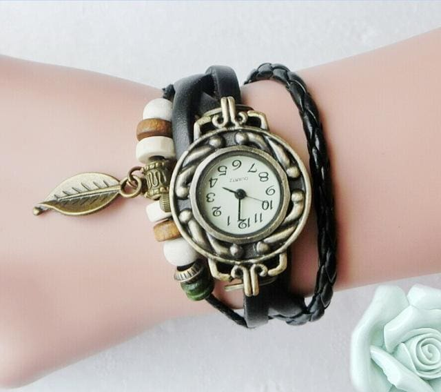 Multicolor High Quality Women Genuine Leather Vintage Quartz Dress Watch Bracelet Wristwatches Leaf Black