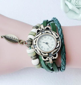 Multicolor High Quality Women Genuine Leather Vintage Quartz Dress Watch Bracelet Wristwatches Leaf Green