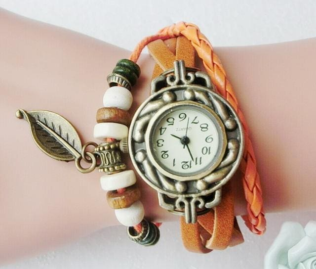 Multicolor High Quality Women Genuine Leather Vintage Quartz Dress Watch Bracelet Wristwatches Leaf Orange