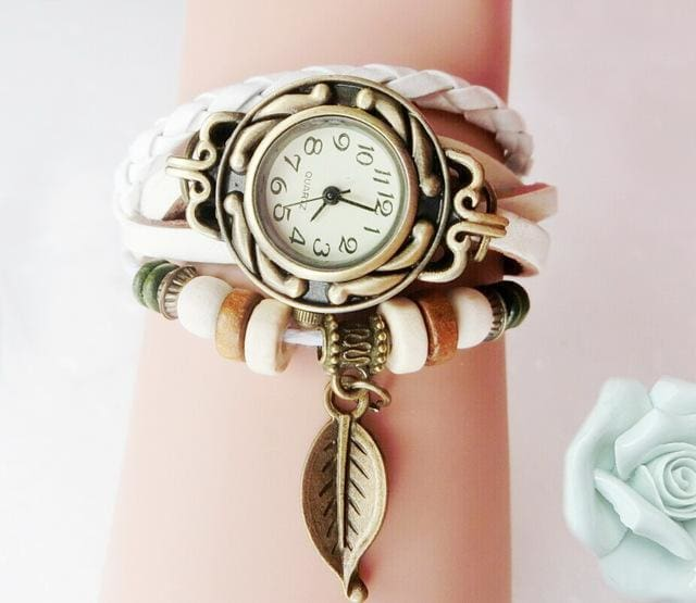 Multicolor High Quality Women Genuine Leather Vintage Quartz Dress Watch Bracelet Wristwatches Leaf White