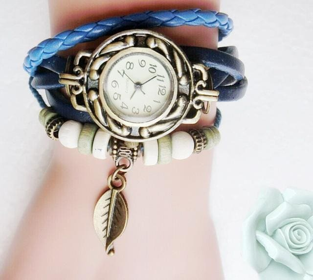Multicolor High Quality Women Genuine Leather Vintage Quartz Dress Watch Bracelet Wristwatches Leaf Blue