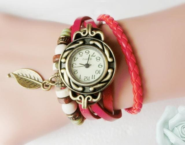 Multicolor High Quality Women Genuine Leather Vintage Quartz Dress Watch Bracelet Wristwatches Leaf Red
