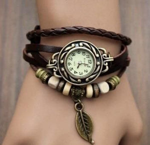 Multicolor High Quality Women Genuine Leather Vintage Quartz Dress Watch Bracelet Wristwatches Leaf Brown