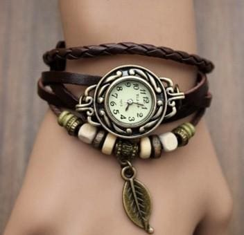 Multicolor High Quality Women Genuine Leather Vintage Quartz Dress Watch Bracelet Wristwatches Leaf