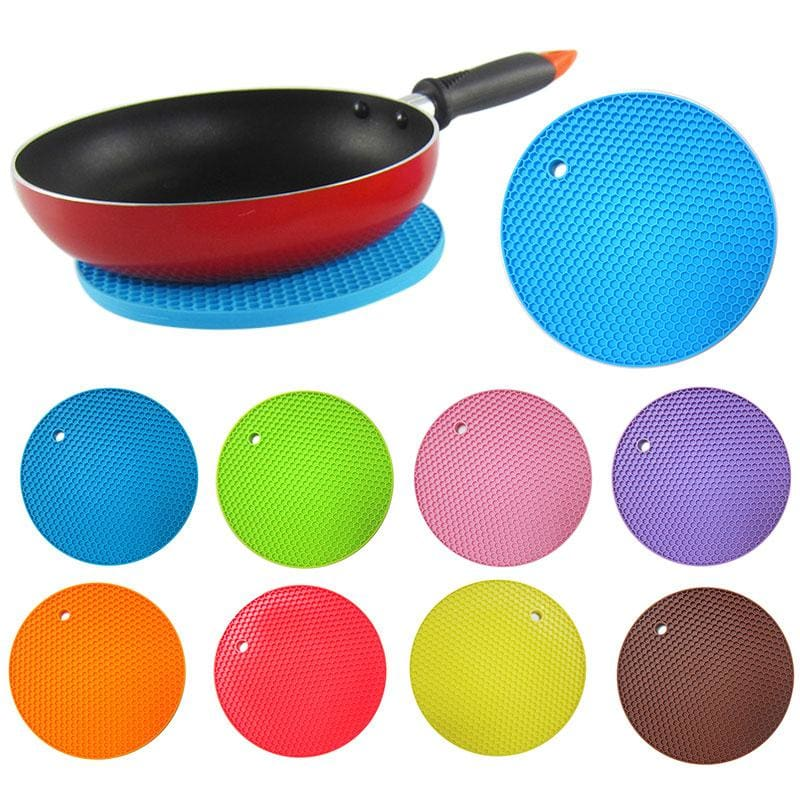 Multifunctional Round Alveolate Non-Slip Heat Resistant Mat Coaster Cushion Place Mat Pot Holder - MBMCITY