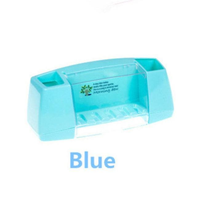 Multifunctional Toothbrush Racket Holder Storage Box Bathroom Makeup Accessories Products Sets Blue